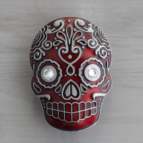 Sugar Skull Drawer Knobs Cabinet Knobs In Red Mk107 Xl