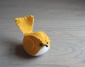 Handmade Felt Bird Mustard Yellow Embroidered Wool Felt Bird