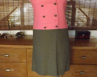 Vintage 60s Pink and Olive Colorblock Nautical Collar Midi Dress M Free Domestic Shipping