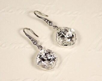 Valerie Bridal Earrings, Art Deco Bridal Drop Earrings, Vintage style Wedding Earrings, Swarovski Crystal Drop Earrings, Wedding Jewelry