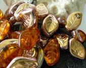 15x10mm Czech Wavy Leaf Glass Beads- Bronze/ Topaz (12)