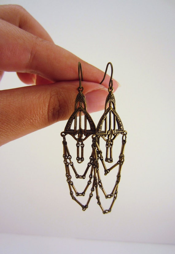 Handmade dangle earrings chandelier waterfall earrings for Waterfall design etsy