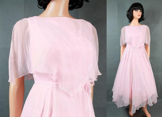 SALE! Vintage Cape Dress XS -  Long Pink Chiffon Fairy Princess Gown Costume Pixie Hem Free US Shipping