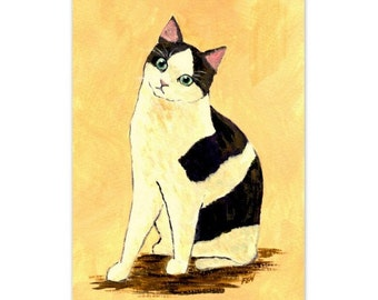 """cat painting art print of """"A Tuxedo Cat """" for cat lovers"""