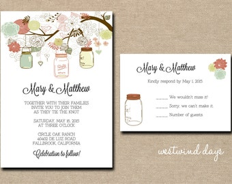 Mason Jars on Branches Wedding Invitation & RSVP ~ Custom ~ Printable
