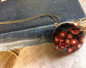 Colourful Locket Necklace - Folk Art Floral Pattern - Elegant Peacock Necklace - Vintage European Fabric Pattern Necklace