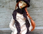 Black Gold Witch Hat and Scarf for SD BJD Dolls
