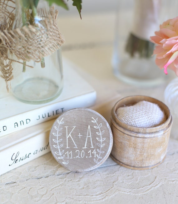 Personalized Rustic Ring Bearer Pillow Box Shabby Chic Wedding