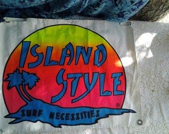 SALE Island Style Surf Necessities Banner/Vintage Surf Art/Vintage Surf Shop Banner/Surf Shop Wall Art/1980s surf /Vintage Surf memorabilia