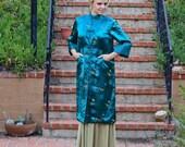 Vintage 1960s Luxe Green Satin Evening Jacket With Chinese Crasanvthemom Brocade - Size Medium