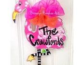 Pink Flamingo Door Hanger - Bronwyn Hanahan Art