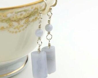 Blue Gemstone Earrings- Sterling Silver and Blue Lace Agate Earrings- Throat Chakra