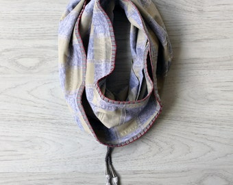 Cowl scarf, infinity scarf, hand made scarf, circle scarf, everlasting scarf, checkered scarf