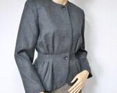 Jacket Vintage Wool Cinch Waisted Jacket Designer Classic Blazer Evan Picone Petite Grey Fitted Size 6