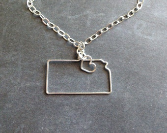 Kansas Necklace - Custom State Love Necklace - State Jewelry - Personalized Necklace - Kansas State - Silver or Gold Necklace