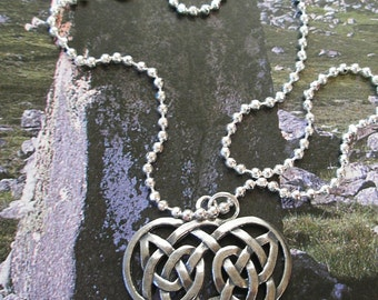 SILVER  CELTIC  Knot Heart  IRISH Necklace