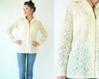 SALE...DOILY PRINT Crochet Lace Vintage 70's Hippie Cream Lace Blouse / Long Sleeve Button Down Boho Shirt