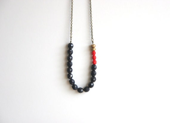 50 PERCENT OFF SALE  Navy, Metallic Gold, Red Long Beaded Necklace << Boho Necklace >> Tribal Necklace >> Urban Long Necklace