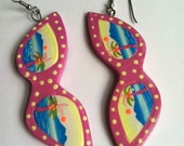 Vintage 80's Kitschy CAT's Eye SUNGLASSES Earrings // Pink Polka Dots // Palm Trees