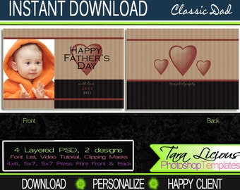 Classic Dad Fathers Day Templates Personalized Fathers Day Card Layered PSD TaraLicious Front and Back Photo Card TaraLicious JB