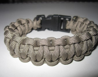 Tan Paracord Survival Bracelet Mans or Womans Survivor Cord