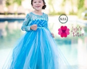 Elsa Ice Queen, Frozen Inspired Empire Tutu Dress, Tulle Dress, Flower Girl Dress, Glitter Dress, Birthday Dress, Halloween Costume