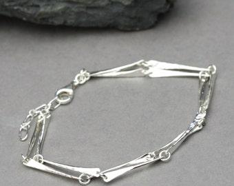 Hammered Silver Bar Bracelet, Unique Silver Jewelry, Hand Hammered Artisan Silver Bracelet, Sterling Silver Bracelet, Twisted Bar Bracelet
