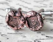 Letter T Initial Monogram Cufflinks - Antique Wax Seal Cuff Links in Copper