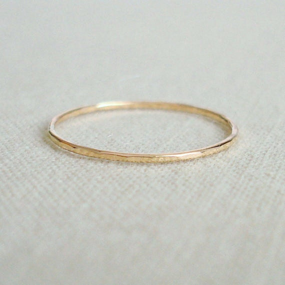Thread of Gold - Rose or Yellow 14k Gold Filled Ring - Wavy or Straight - Tiny Hammered Stack Ring - Skinny and Thin