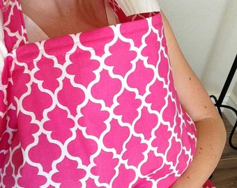 Hot Pink Lattice Nursing Cover - Free shipping in USA