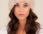 Knit Headband with Fur in Beige