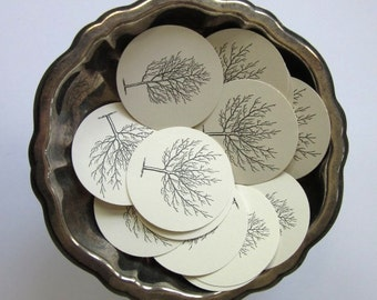 Winter Trees Tags Round Paper Gift Tags Set of 10
