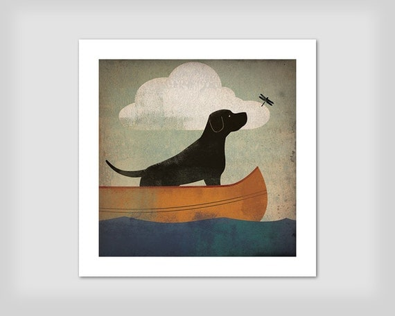 BLACK DOG DRAGONFLY Labrador Retriever Canoe Ride  original Graphic Art Giclee Print Signed