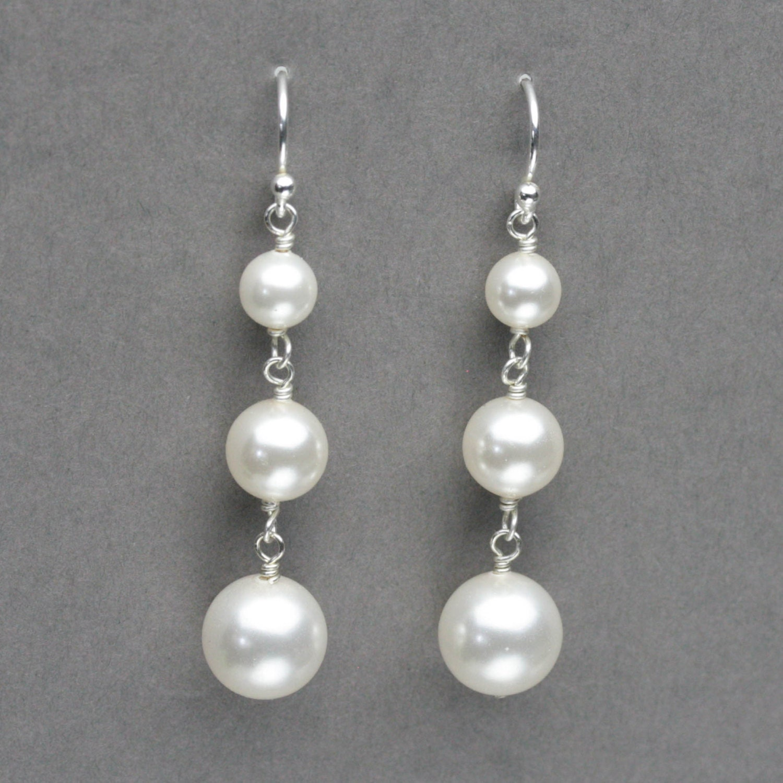 pearl drop earrings bridal wedding earrings pearl dangle