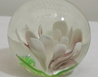 Vintage Round Glass Water Lily Paperweight