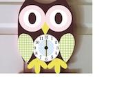 owl clock owl nursery owl decor wall hanging wood clock children's clock brown owl clock pink and brown owl room decor wooden owl