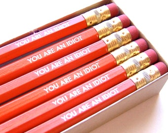 6 PENCILS - You are an idiot - orange - graphite hex pencils w/ kraft pencil box