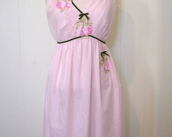 Vintage 50s 2 pc Night Gown and Robe Penoir Set - 1950s Pink Chiffon Negligee and Dressing Gown with flower aplique - on sale