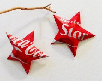 Star Coke Stars Christmas Ornaments  Soda Can Upcycled Coca Cola