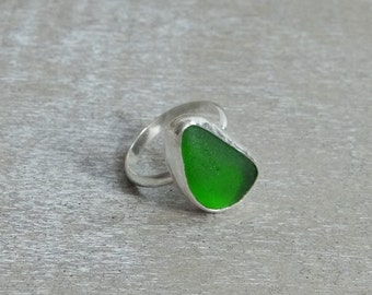 Lime Green Sea Glass Ring set in Sterling Silver size 8
