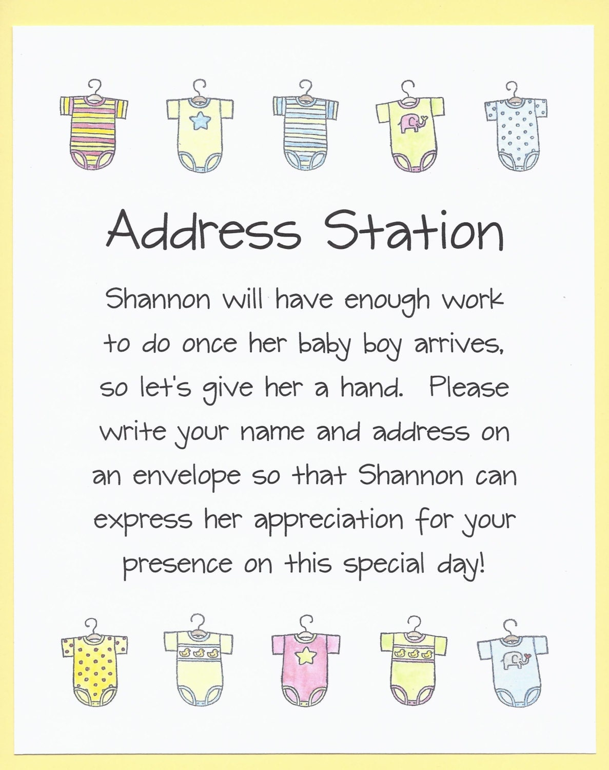 envelope addressing table baby shower sign by cardsbykooper