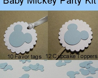 Baby Mickey Mouse Birthday Party Package, Customizable, Cupcake Toppers, Favor Tags, Confetti