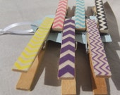 Happy Little Chevrons Set of 6 Decorative Clips, Chevron Clothes Pins, Bag Clips, Chip Clips, Sheet Music Holder, Bookmark, Party Favor