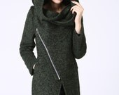 asymmetrical coat, Modern Mini Wool Coat with Asymmetrical Front Zipper and Snood Hood - Forest Woodland Green  (1056)