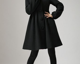 winter jacket,Black jacket, wool jacket, wool coat, hooded coat,hooded jacket, winter coat, cashmere coat, dress coat, coat dress, gift  730