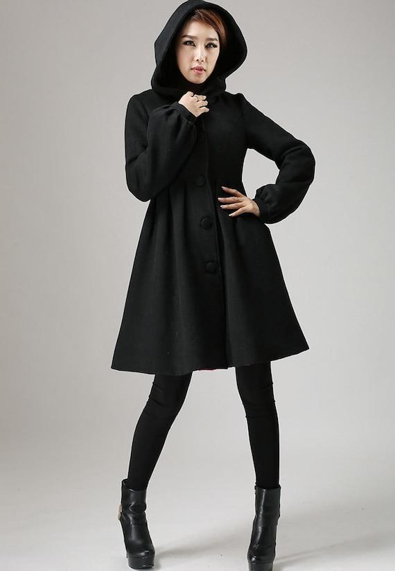 Winterjacke schwarze jacke jacke aus schurwolle wollmantel for Schwarzer wollmantel