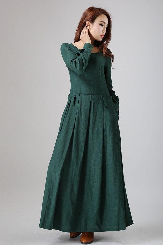 Green Dress, Maxi linen dress, Long dress, long sleeve dress, women dresses unique, fall dress women, custom made dress, Gift for her (788)