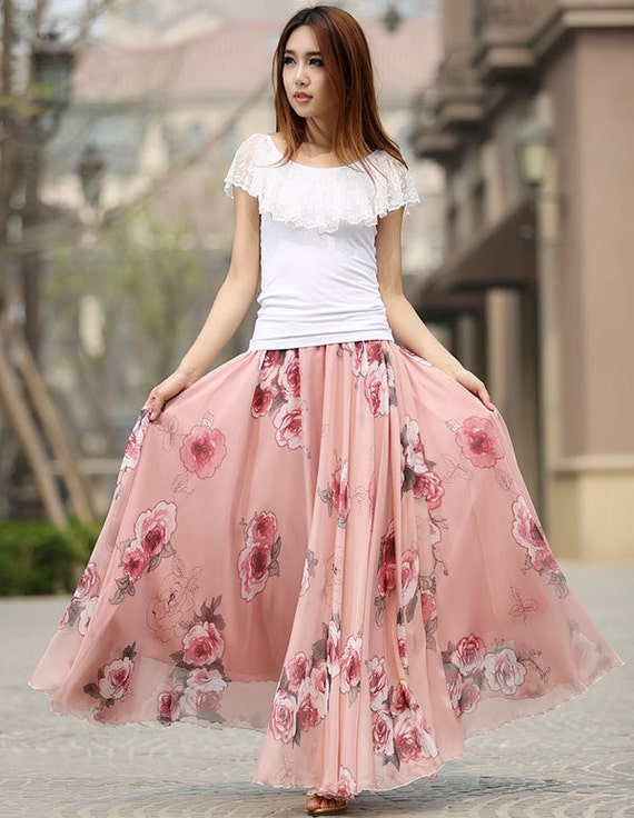 Chiffon skirt floral skirt maxi skirt long skirts for