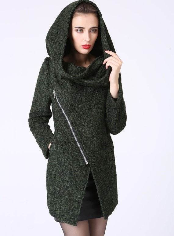 asymmetrical coat, short jacket,Wool Coat,wool jacket, Asymmetrical jacket, Forest green coat,hooded jacket, ladies clothing, Gift  (1056)