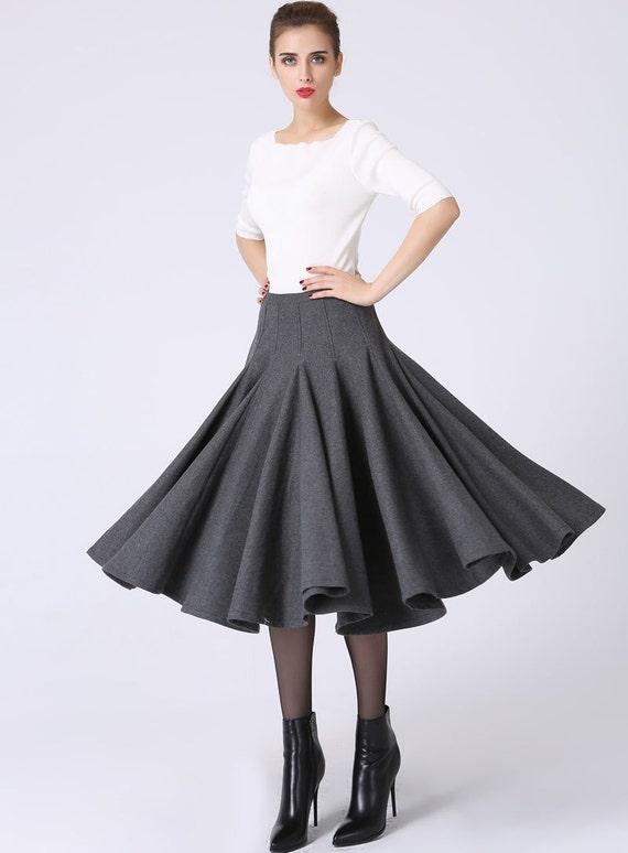 dark grey skirt, pleated skirt, wool skirt, tea length skirt, winter skirt, ruffle skirt, retro skirt, womens skirts, custom made    (1066)
